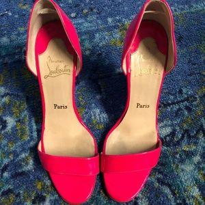 Christian Louboutin hot pink sandal heels
